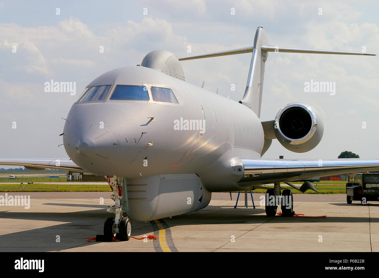 Royal Air Force RAF R1 Sentinel ZJ692, an airborne battlefield and ground surveillance aircraft. Raytheon Sentinel based on Bombardier Global Express - Stock Image