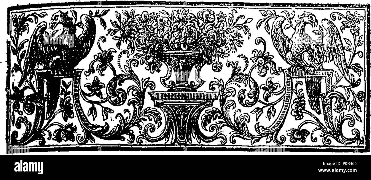 . English: Fleuron from book: An act for vesting the inheritance of the rectory and tythes of Bedgeworth, granted by King Henry the Eighth, to the late dissolved Corporation of Bergavenny, and by them leased to Jesus-College in Oxford, towards maintaining a Fellow and Scholars from Bergavenny School; and for vesting other Rectories and Tythes in the County of Monmouth, granted by the said King Henry, to the said Corporation, in Trustees, for supporting the said School, and for Relief of the Poor of the said Town. 301 An act for vesting the inheritance of the rectory and tythes of Bedgeworth Fl - Stock Image