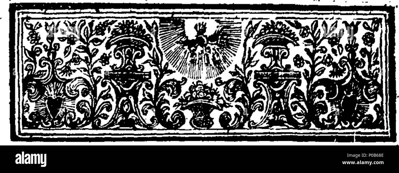 . English: Fleuron from book: An answer to a late insolent libel, entituled, A discovery of the conduct of receivers and thief-takers, in and about the city of London; presumptuously Dedicated to the Lord Mayor, Aldermen and Common Council. Written by Cs Hn. Wherein is prov'd in many particular instances, who is originally the grand thief-taker; that a certain author is guilty of more flagrant crimes, than any Theif-Taker mention'd in his Nonsensical Treatise; and that he has highly Reflected on the Magistracy of the City, in the said Scandalous Pamphlet. Set forth in several Entertaining Stor - Stock Image
