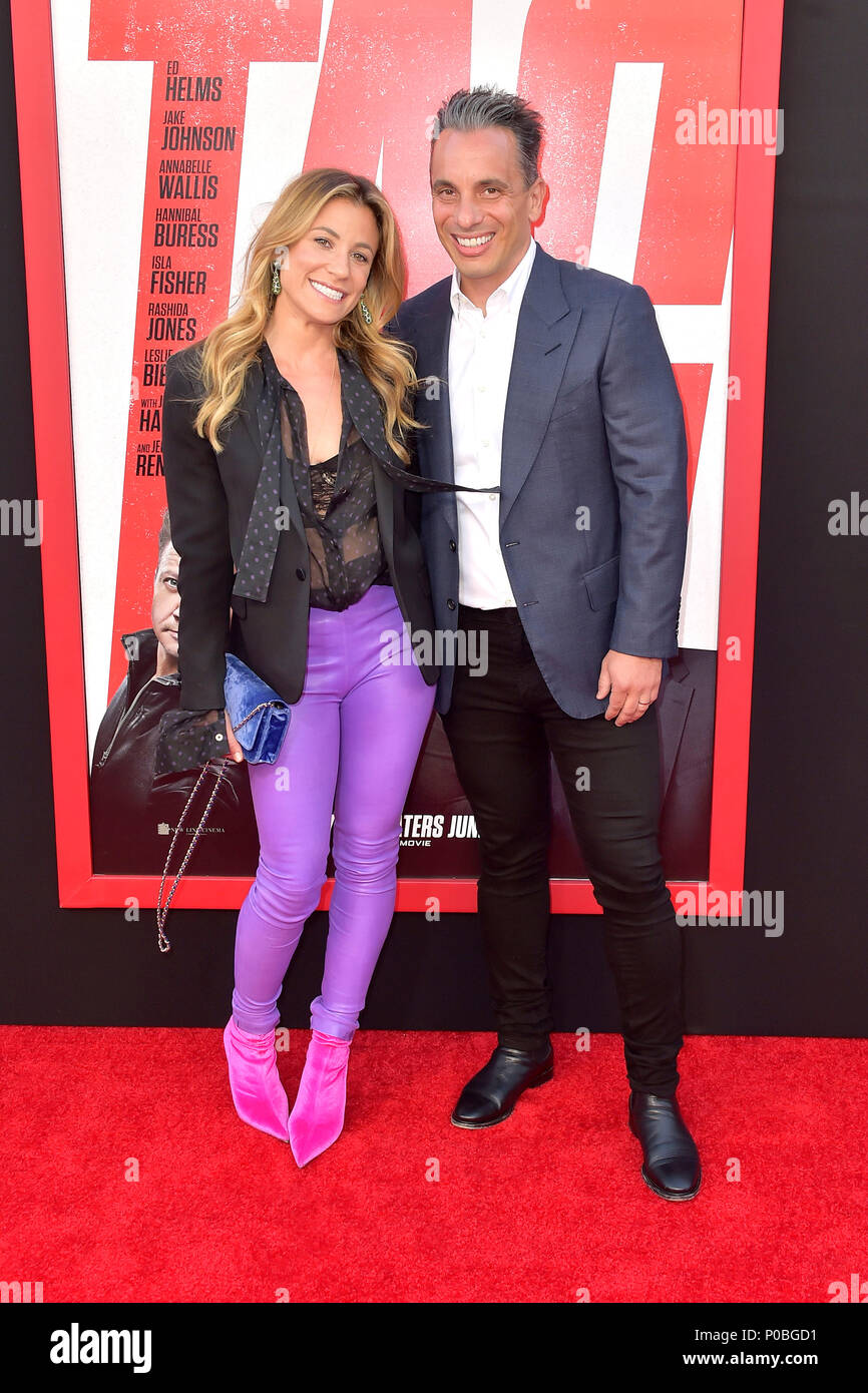 sebastian maniscalco and his wife lana gomez attending the warner bros  pictures and new line