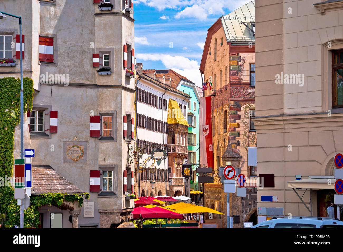 Historic street of Innsbruck view, alpine city in Tirol, region of Austria - Stock Image