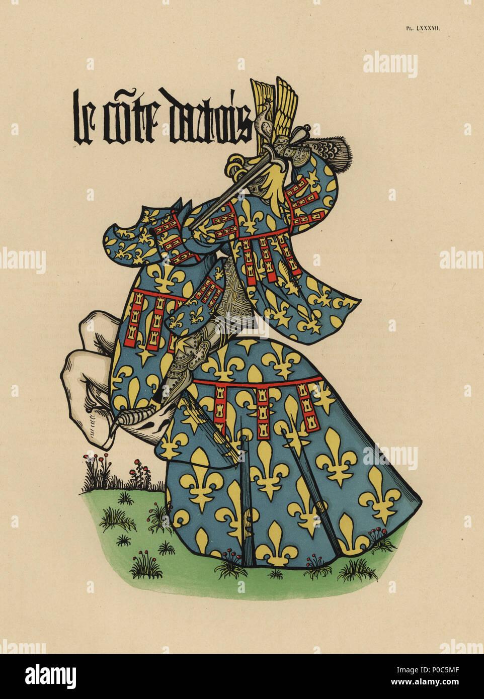 Count of Artois, Comte d'Artois. Chromolithograph from Loredan Larchey's Ancien Armorial Equestre de la Toison d'Or et de l'Europe au 15e siecle (Ancient Equestrian Armorials of the Order of the Golden Fleece and Europe in the 15th century), Paris, 1890. From illustrated manuscript 4790 in the Bibliotheque de l'Arsenal. - Stock Image