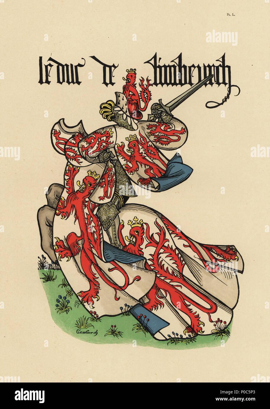 Duke of Limburg, Duc de Limbourg. Chromolithograph from Loredan Larchey's Ancien Armorial Equestre de la Toison d'Or et de l'Europe au 15e siecle (Ancient Equestrian Armorials of the Order of the Golden Fleece and Europe in the 15th century), Paris, 1890. From illustrated manuscript 4790 in the Bibliotheque de l'Arsenal. - Stock Image
