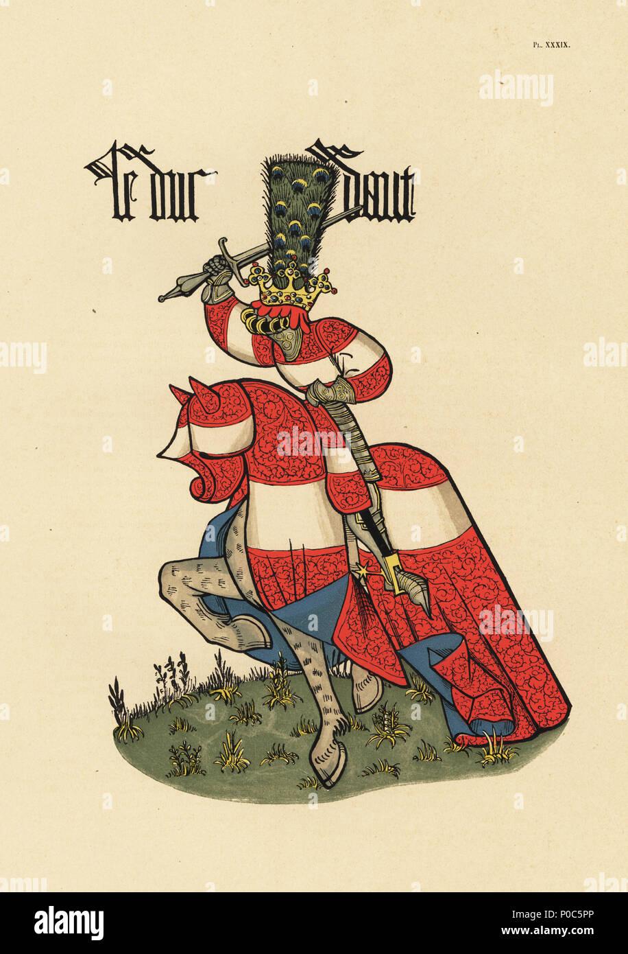Duke of Austria, Duc d'Autriche. Chromolithograph from Loredan Larchey's Ancien Armorial Equestre de la Toison d'Or et de l'Europe au 15e siecle (Ancient Equestrian Armorials of the Order of the Golden Fleece and Europe in the 15th century), Paris, 1890. From illustrated manuscript 4790 in the Bibliotheque de l'Arsenal. - Stock Image