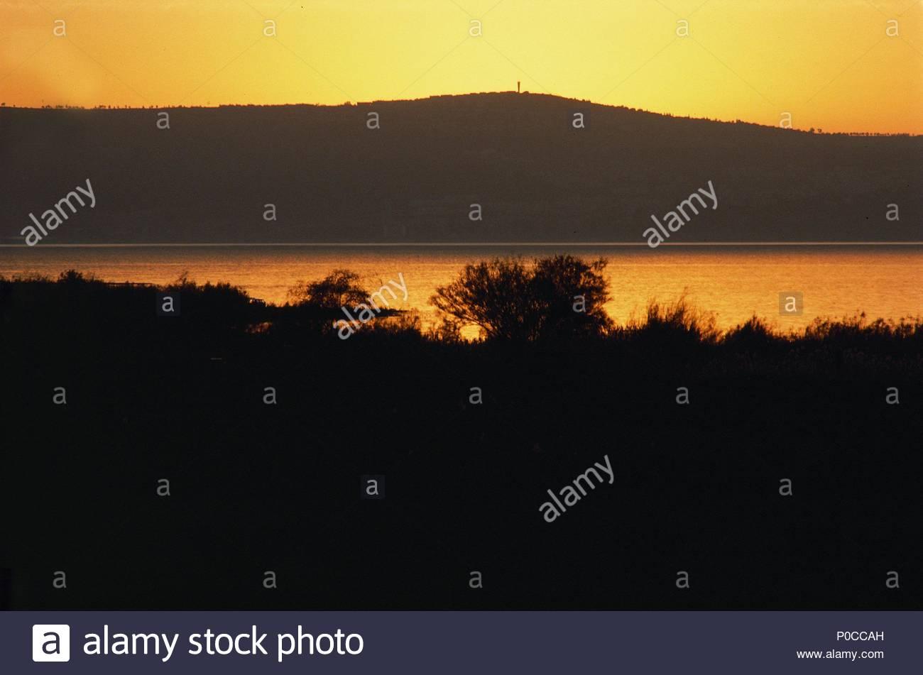 Lake Kinereth Genezareth At Sunset Jesus Walked On The Waters Of