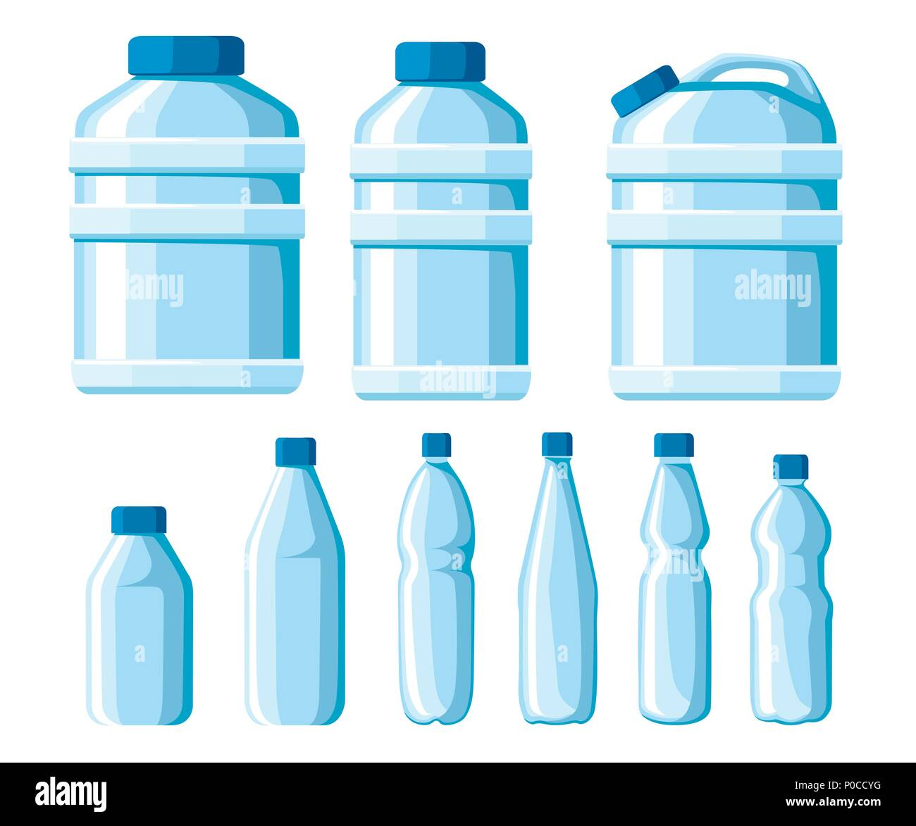 plastic water bottle set healthy agua bottles vector illustration