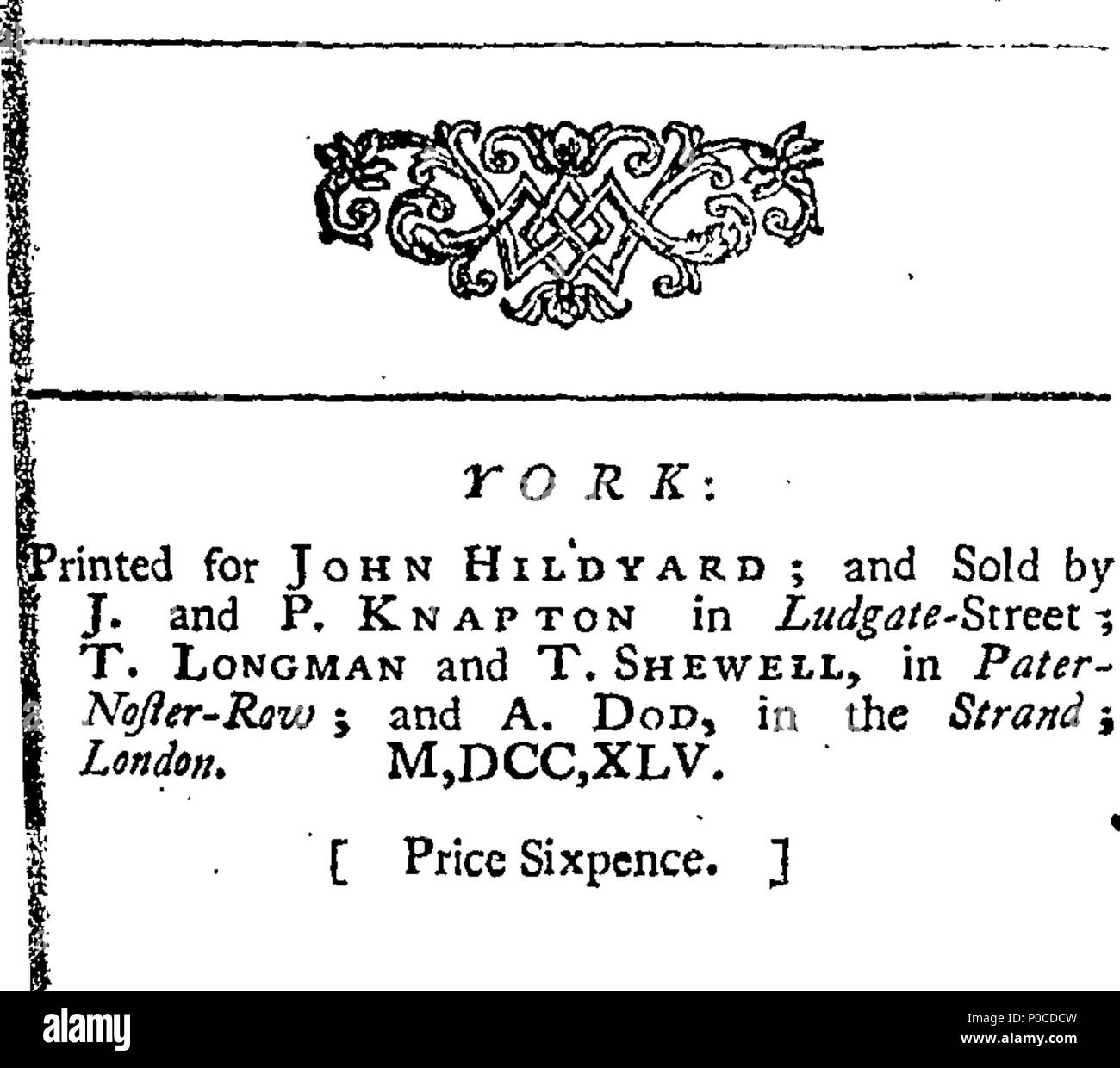 William Drake Stock Photos Images Alamy Viscount Caravan Wiring Diagram English Fleuron From Book A Sermon Preachd At Hatfield On