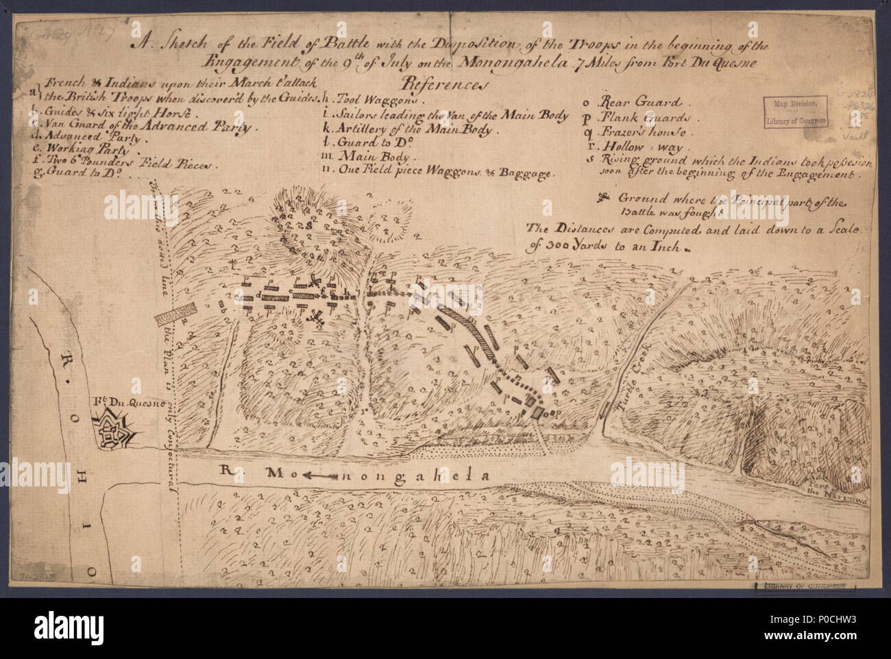 . English: Scale 1:10,800; 300 yards to an in. Manuscript, pen-and-ink. Relief shown by hachures. The name R. Ohio applies also to the Allegheny. 'No. 27.' Available also through the Library of Congress Web site as a raster image. Includes index to points of interest and military positions. Vault AACR2: 440; 651/1; 650/3  . A sketch of the field of battle with the disposition of the troops in the beginning of the engagement of the 9th of July on the Monongahela 7 miles from Fort Du Quesne.. 1755. Unknown 206 A sketch of the field of battle with the disposition of the troops in the beginning of - Stock Image