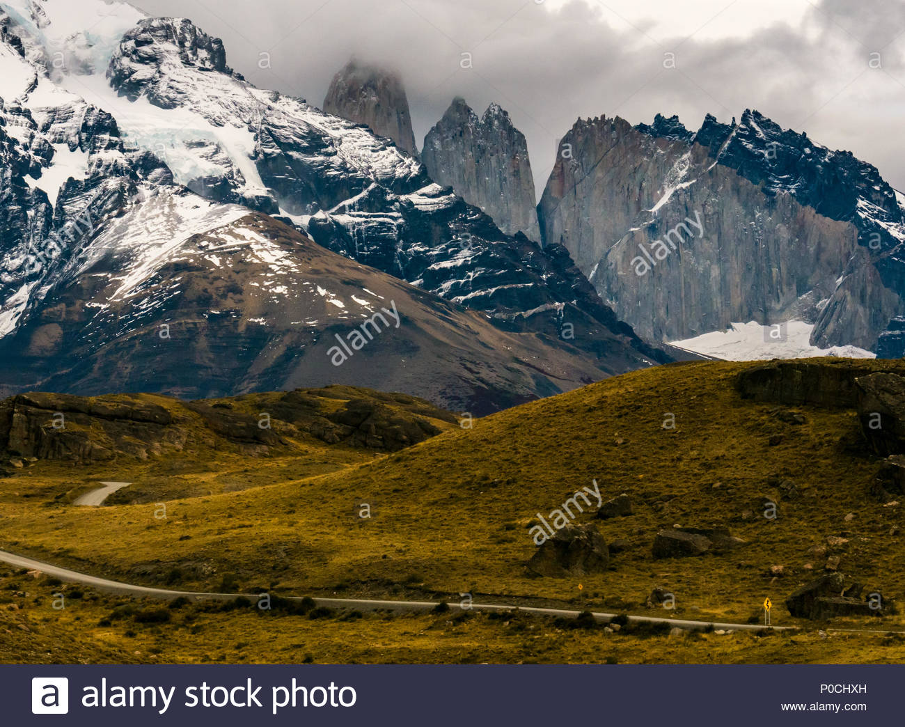 Granite Towers of Paine, Torres del Paine National Park, Patagonia, Chile, South America showing intrusion - Stock Image