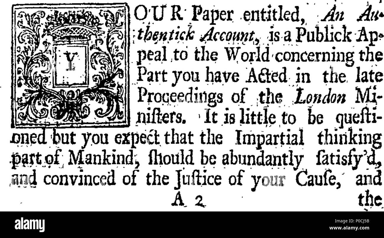. English: Fleuron from book: A sober defence of the reverend ministers who, By a Subscription, have lately Declar'd their Faith in the Trinity. In a Humble address To the Reverend ministers Who were otherwise Minded. 206 A sober defence of the reverend ministers who, By a Subscription, have lately Declar'd their Faith in the Trinity Fleuron T054143-1 Stock Photo
