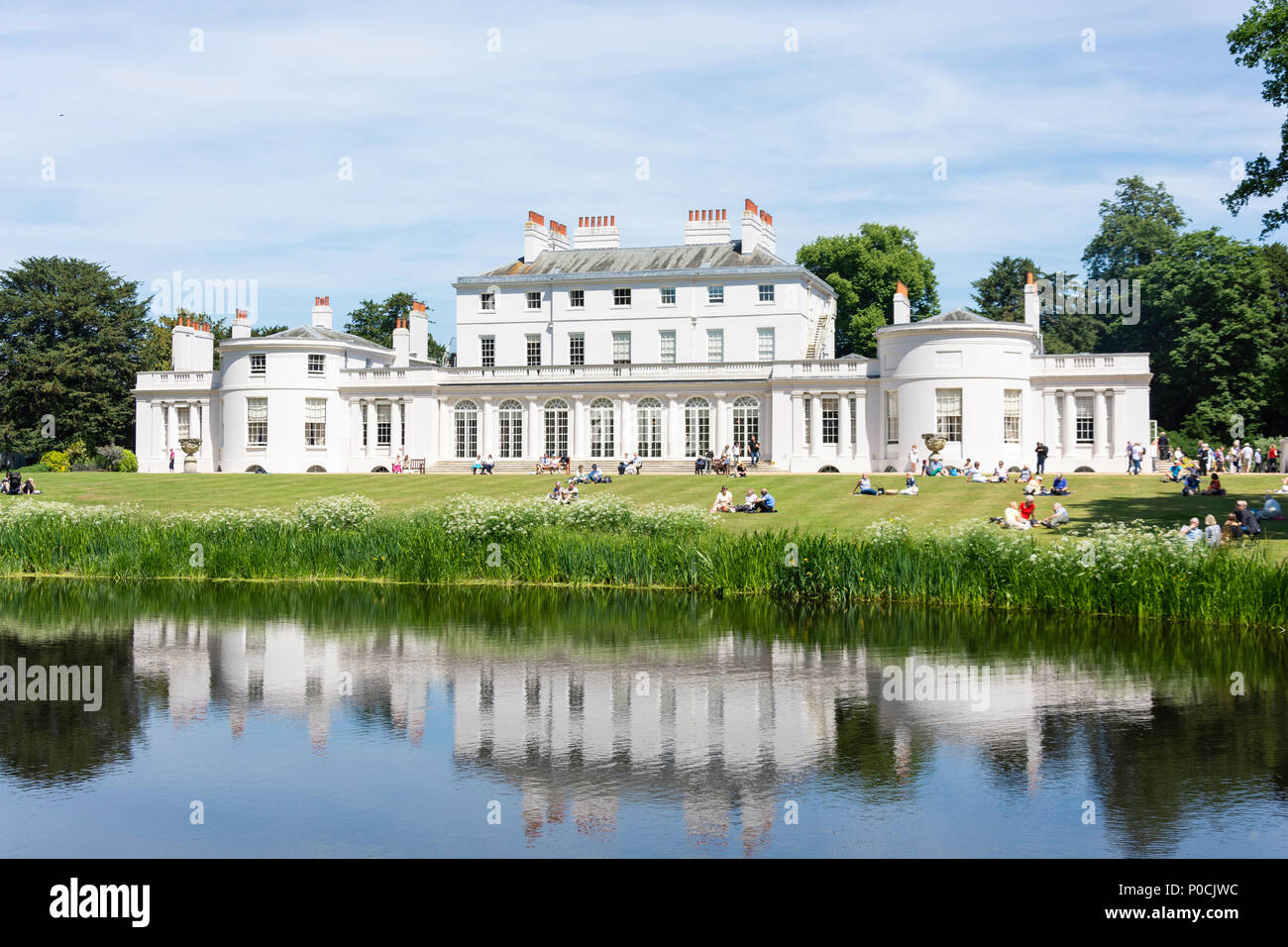 Frogmore House and Gardens across Frogmore Lake, Home Park, Windsor, Berkshire, England, United Kingdom - Stock Image