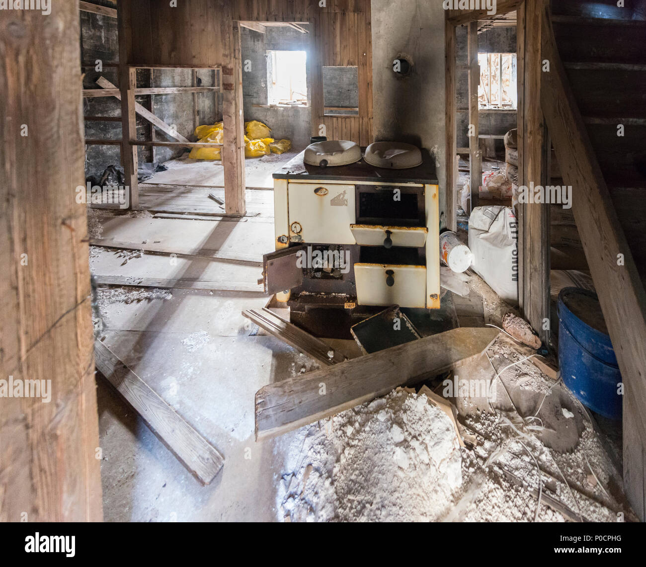 Old house, farm, room with oven and rubble, dilapidated and dilapidated, Iceland - Stock Image