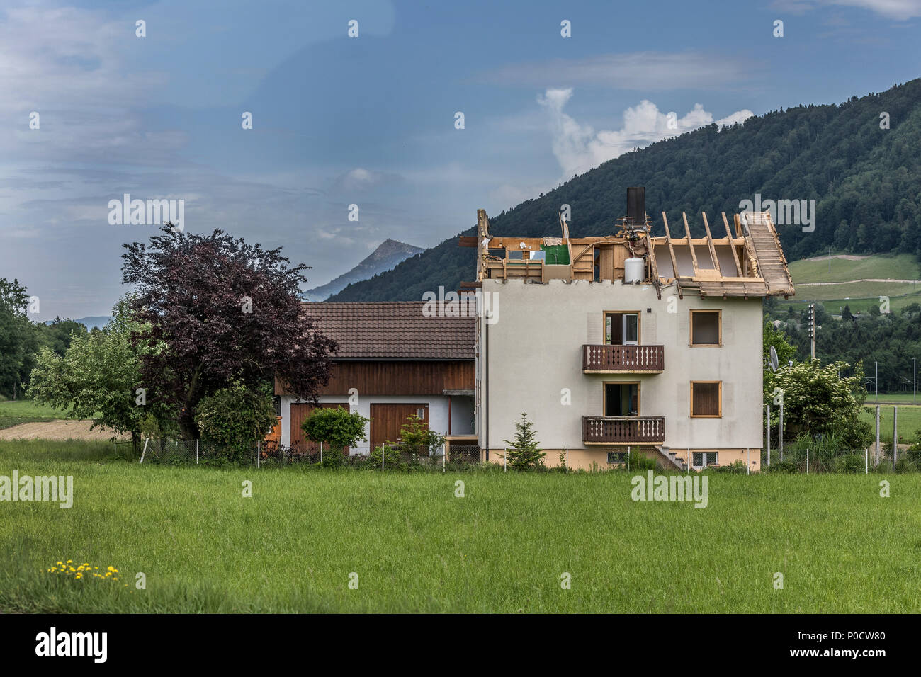 House to be demolished, Blatten, Malters, Lucerne, Switzerland - Stock Image