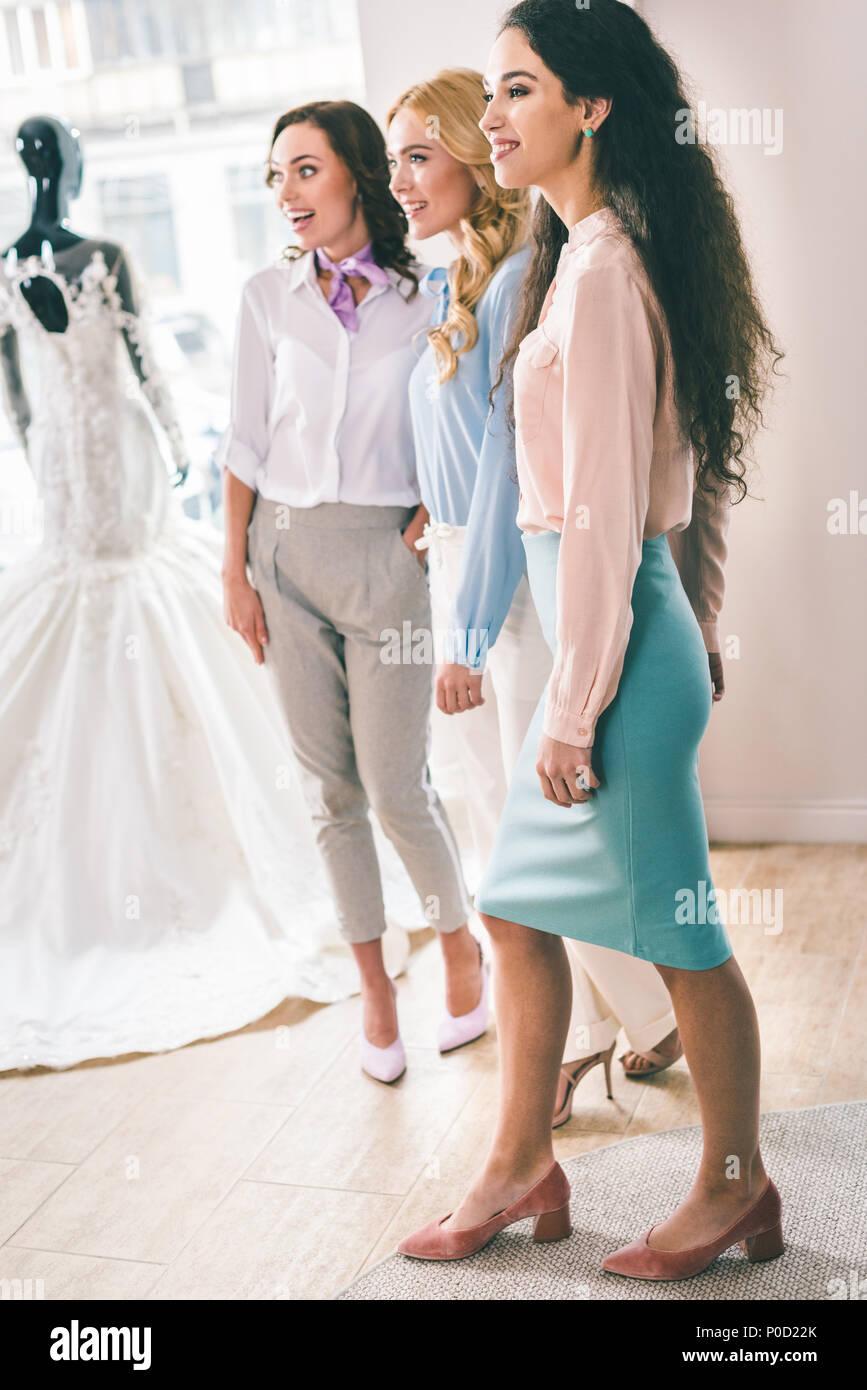 Attractive Women Looking At Wedding Dresses In Wedding Salon Stock Photo Alamy,Miami Wedding Dress