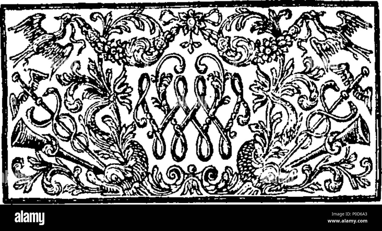 . English: Fleuron from book: A sermon preach'd before the Right Honourable the Lord-Mayor, the Aldermen, and the Citizens of London, in the cathedral Church of St. Paul; on November the 5th, 1720. The Day of our Deliverance from the Gunpowder Treason; and also of the Safe and Happy Arrival of his late Majesty, King William, (of Glorious Memory) to Deliver these Nations from Popery and Slavery. By Francis Haslewood. M. A. Rector of Chinkford, in Essex; Prebend of Wherwell, in Hampshire; and Chaplain to His Grace Philip Duke of Wharton. 194 A sermon preach'd before the Right Honourable the Lord - Stock Image