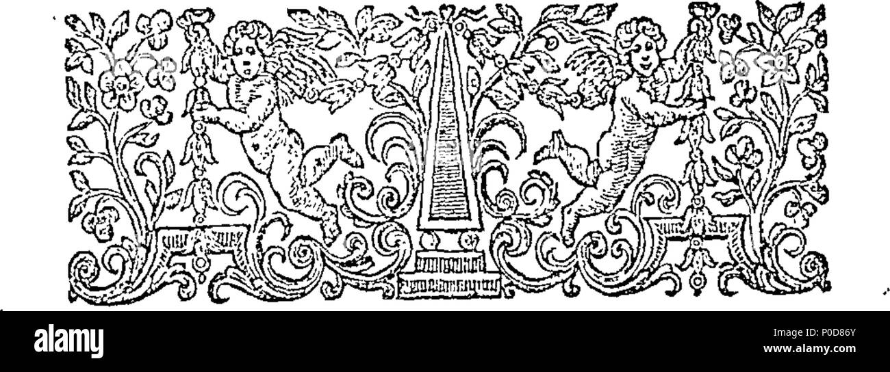 . English: Fleuron from book: A sermon preached before the Right Honourable the Lord Mayor, aldermen, and the citizens of London, in the Cathedral Church of St. Paul, on Monday, June 11, 1750. Being the anniversary of his Majesty's accession to the throne. By William Sandford, D. D. Minister of Aldermanbury, and Chaplain to the Right Honourable the Lord Mayor. 197 A sermon preached before the Right Honourable the Lord Mayor, aldermen, and the citizens of London, in the Cathedral Church of St Fleuron T100418-2 - Stock Image