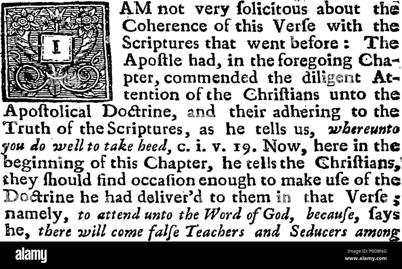 . English: Fleuron from book: A specimen of Presbyterian moderation or their true notion of a general toleration; from one of their greatest champions. Being a sermon, preach'd at St. Paul's, on Sunday, February 14. 1659. Before Sir Thomas Allen, then Ld. Mayor of London. By Mr. Jenkins Minister of Christ-Church, at that Time. Never before printed. 208 A specimen of Presbyterian moderation or their true notion of a general toleration; from one of their greatest champions Fleuron T104240-1 - Stock Image