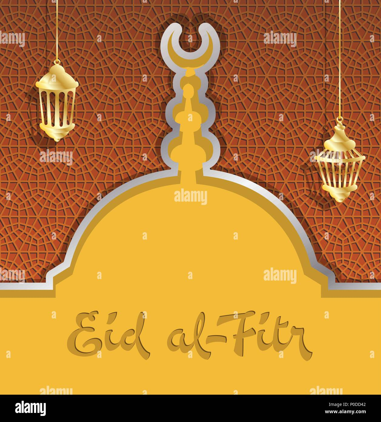 Eid al fitr greeting card with mosque dome and ramadan lanterns all eid al fitr greeting card with mosque dome and ramadan lanterns all the objects are in different layers and the text types do not need any font m4hsunfo