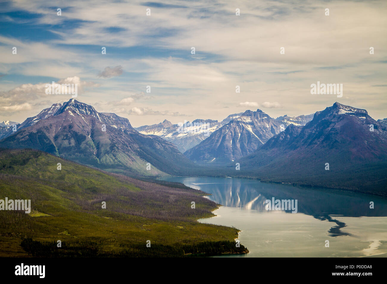 View of Lake McDonald in Glacier National Park, Montana from the Apgar Lookout - Stock Image