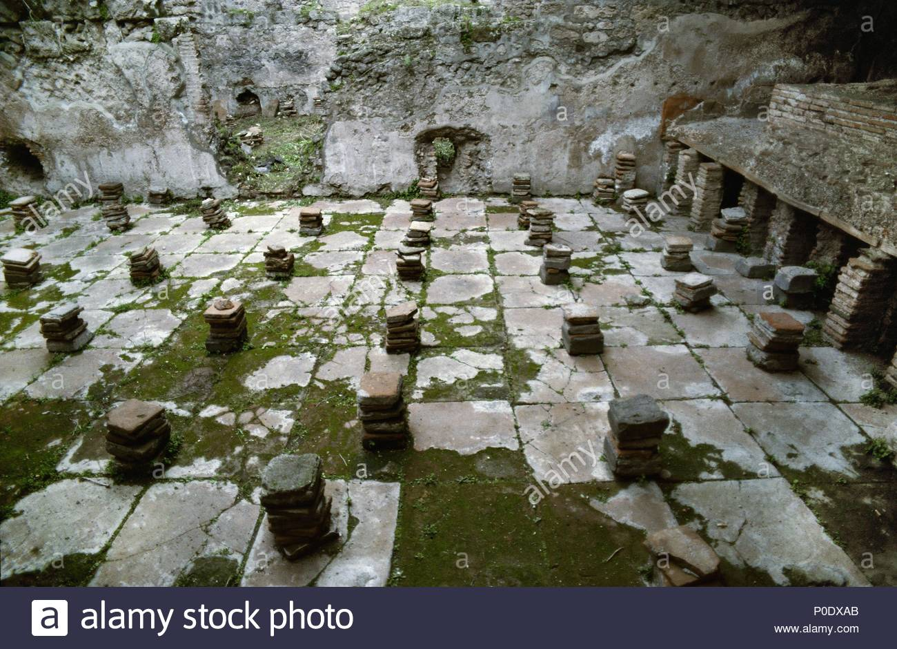 Roman central heating system: hot air circulated underneath the ...