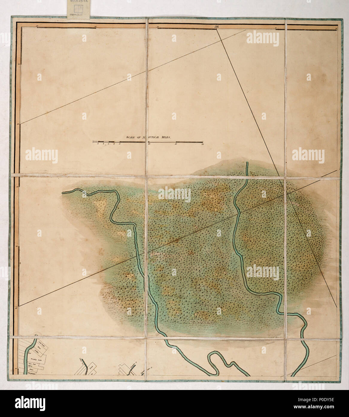 .  English: A chart of the colony of Surinam, on the coast of Guyana.Four sheets. Hand col. engr. Medium: Segmented and backed. Scale: 1:200 000 (bar). Cartographic Note: North at 336 degrees. Graduated. Soundings and seabed soundings shown. Scale in nautical miles. Additional Places: Suriname, Commewijne River, Corantijn River. Contents Note: Property boundaries and vegetation are shown on the land, Sailing directions include a note about dangerous banks where the Thorn Sloop of War ran aground in 1796 and was obliged to throw her guns overboard. Gren82/3(1) A chart of the colony of Surinam,  - Stock Image