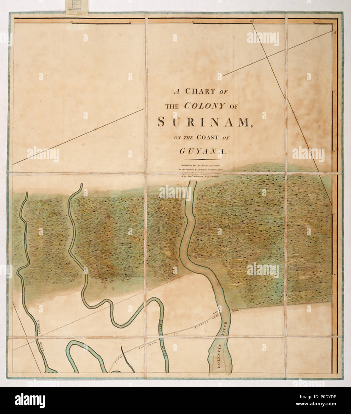 .  English: A chart of the colony of Surinam, on the coast of Guyana.Four sheets. Hand col. engr. Medium: Segmented and backed. Scale: 1:200 000 (bar). Cartographic Note: North at 336 degrees. Graduated. Soundings and seabed soundings shown. Scale in nautical miles. Additional Places: Suriname, Commewijne River, Corantijn River. Contents Note: Property boundaries and vegetation are shown on the land, Sailing directions include a note about dangerous banks where the Thorn Sloop of War ran aground in 1796 and was obliged to throw her guns overboard. Gren82/3(2) A chart of the colony of Surinam,  - Stock Image