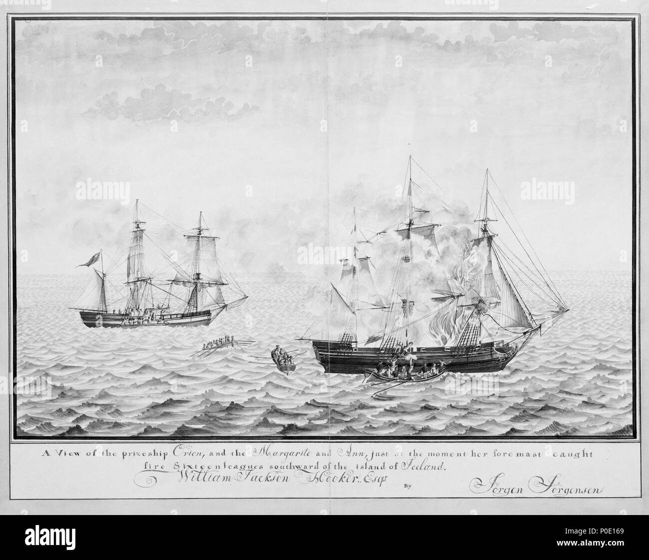 .  English: A View of the prize ship Orion and the Margarite and Ann just at the moment her foremast caught fire Sixteen leagues southward of the island of Iceland, 1808? original art: drawing View of the prize ship Orion and the Margarite and Ann just at the moment her foremast caught fire Sixteen leagues southward of the island of Iceland, 1808?  . 1808. Jorgensen, Jorgen (artist) 243 A View of the prize ship Orion and the Margarite and Ann just at the moment her foremast caught fire Sixteen leagues southward of the island of Iceland, 1808  RMG B7482 - Stock Image