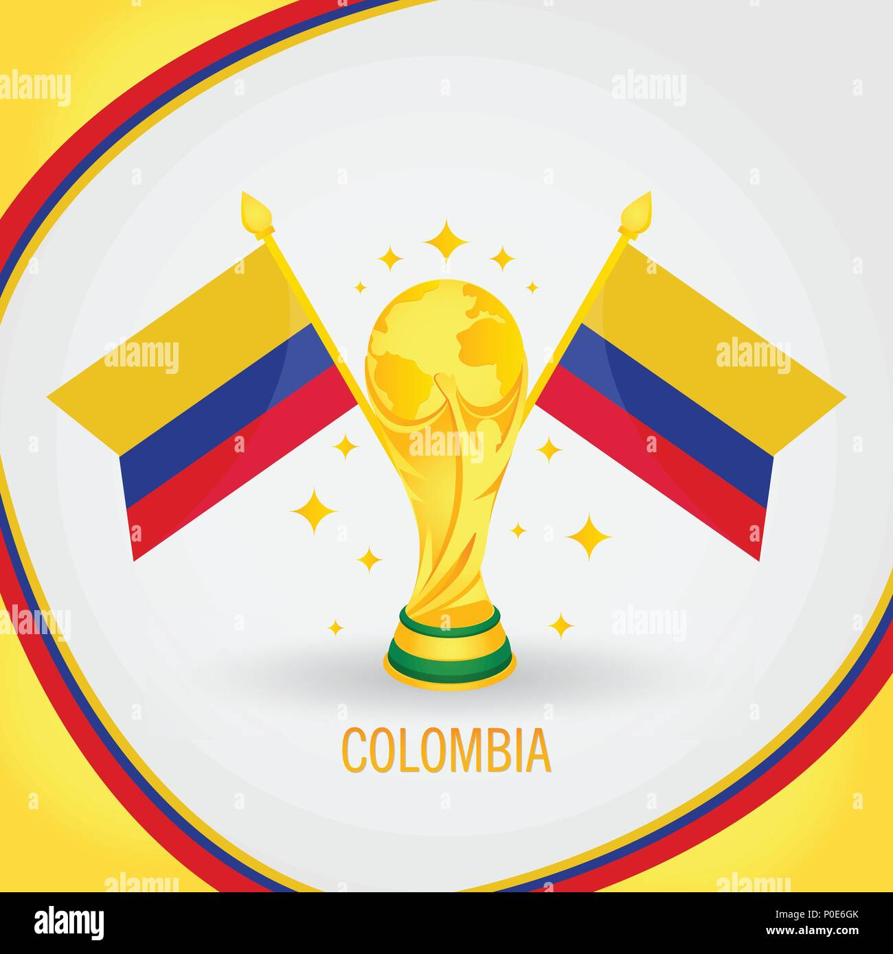 Colombia Football Champion World Cup 2018 - Flag and Golden Trophy - Stock Image