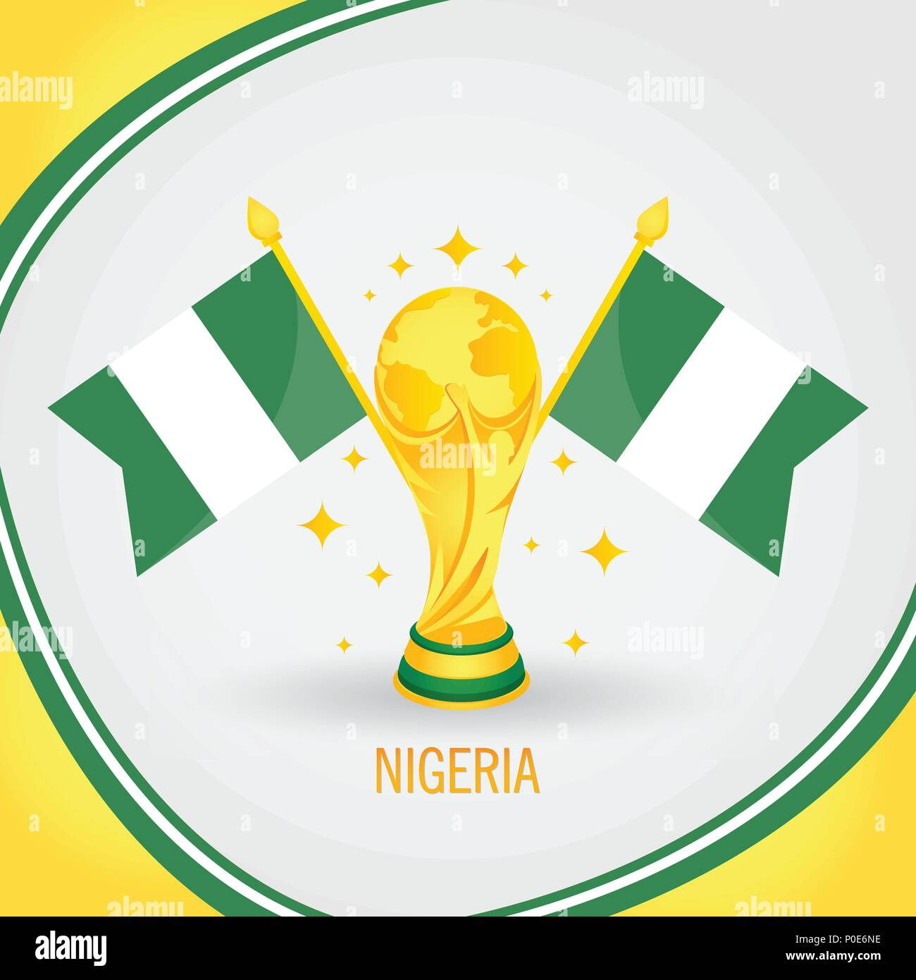 Nigeria Football Champion World Cup 2018 - Flag and Golden Trophy - Stock Vector