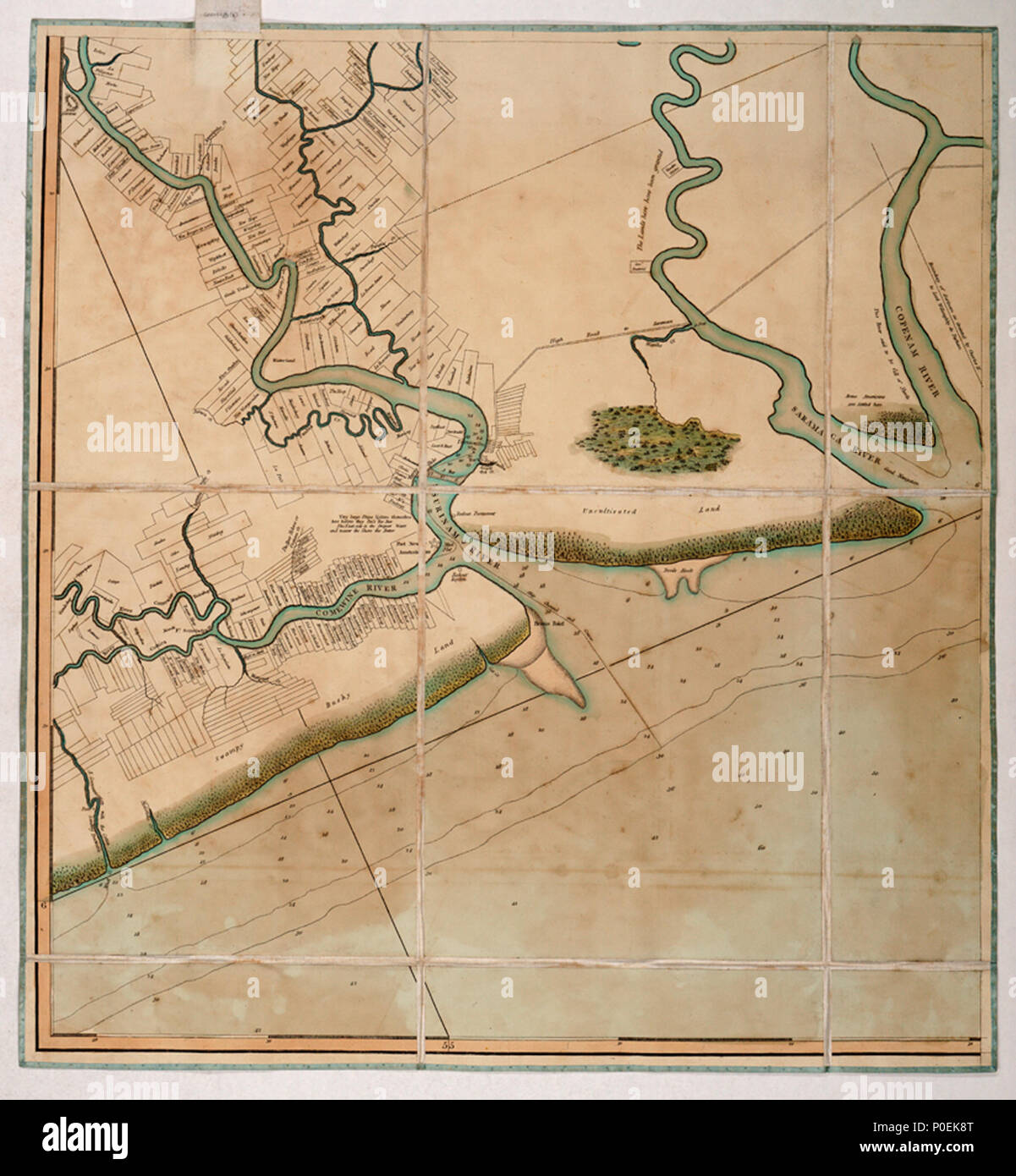 .  English: A chart of the colony of Surinam, on the coast of Guyana.Four sheets. Hand col. engr. Medium: Segmented and backed. Scale: 1:200 000 (bar). Cartographic Note: North at 336 degrees. Graduated. Soundings and seabed soundings shown. Scale in nautical miles. Additional Places: Suriname, Commewijne River, Corantijn River. Contents Note: Property boundaries and vegetation are shown on the land, Sailing directions include a note about dangerous banks where the Thorn Sloop of War ran aground in 1796 and was obliged to throw her guns overboard. Gren82/3(3) A chart of the colony of Surinam,  - Stock Image