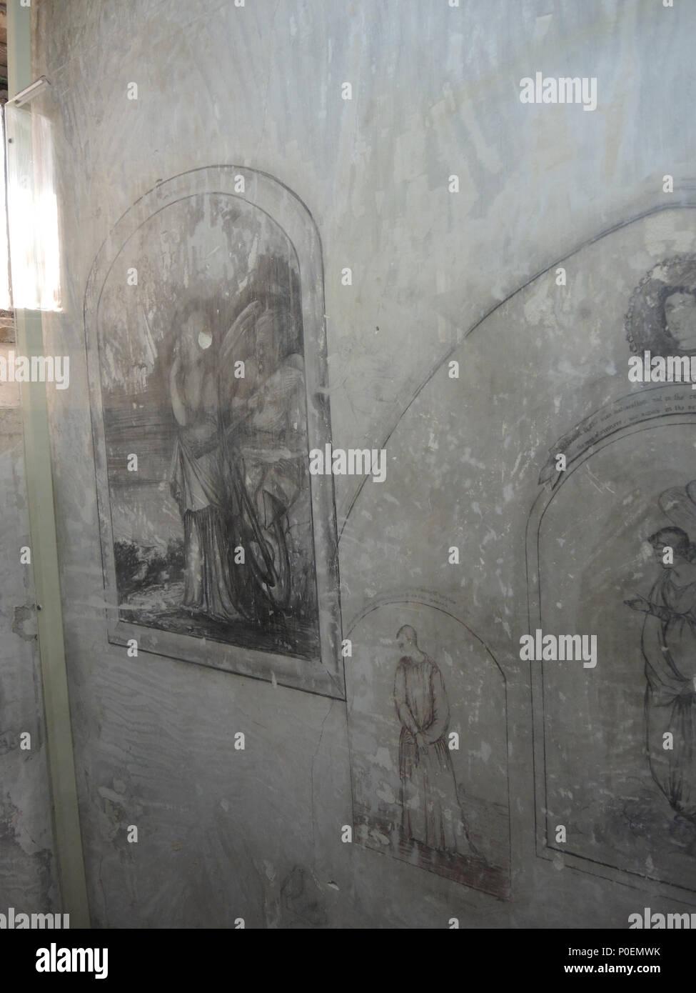 . Artwork found under whitewash in James Walsh's cell at Fremantle Prison  . circa 1859 to 1871. James Walsh 1 E37 Fremantle Prison tour 079 - Stock Image