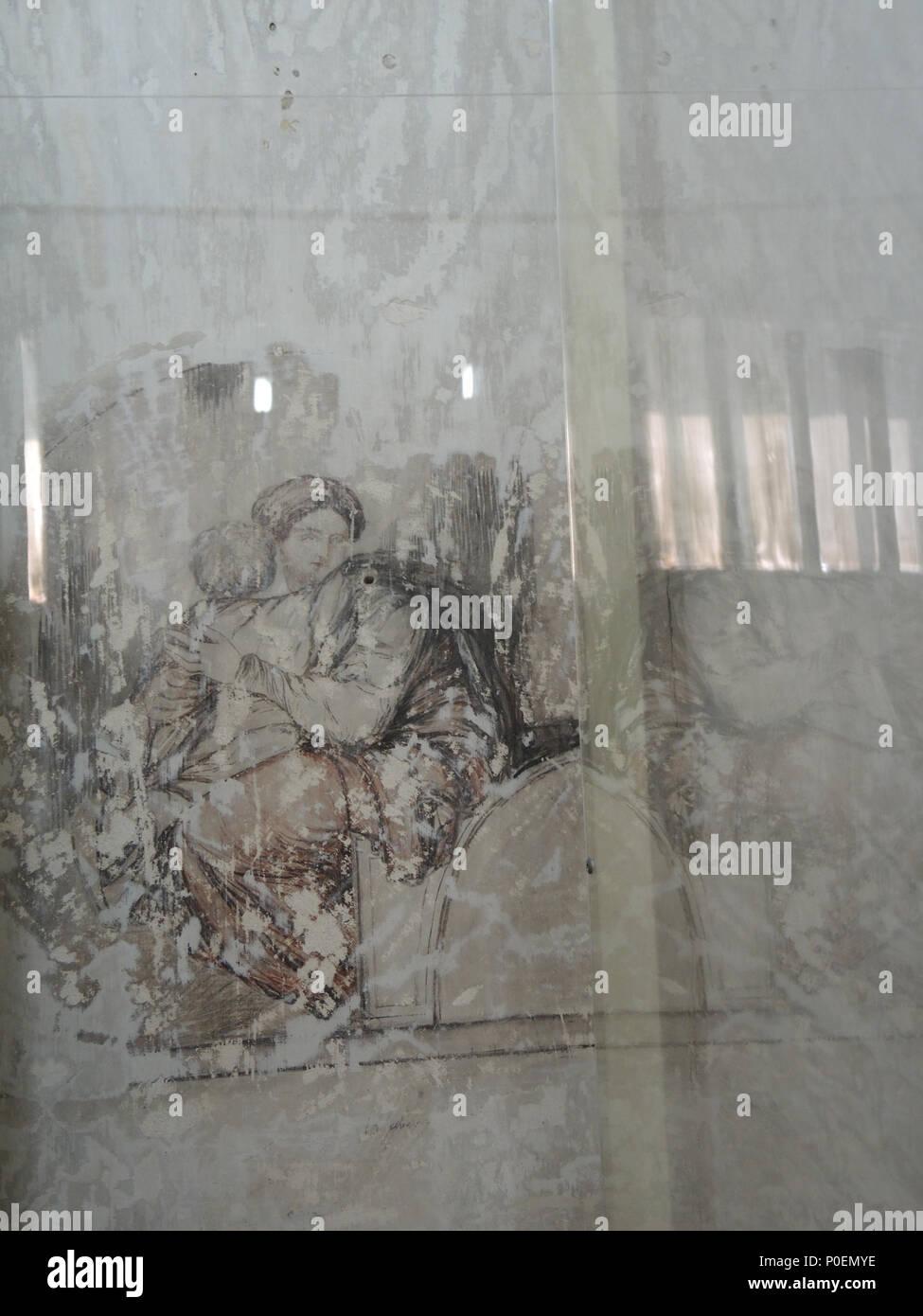 . Artwork found under whitewash in James Walsh's cell at Fremantle Prison  . circa 1859 to 1871. James Walsh 1 E37 Fremantle Prison tour 081 - Stock Image