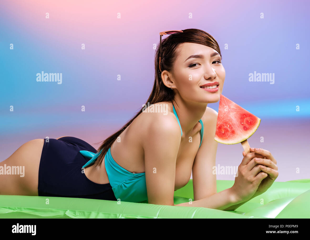 Young asian girl swimsuit midels