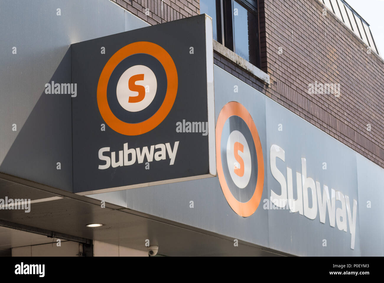 Glasgow subway sign - Hillhead subway, Byres Road, Glasgow, Scotland, UK - Stock Image