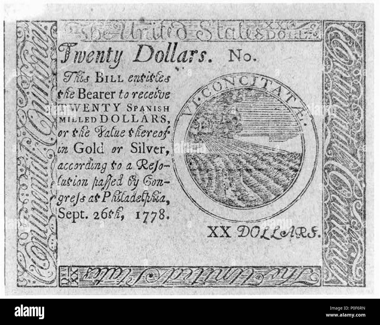 Twenty Dollars2c This Bill En Les The Bearer To Receive Twenty Spanish Milled Dollars Sept 262c 1778