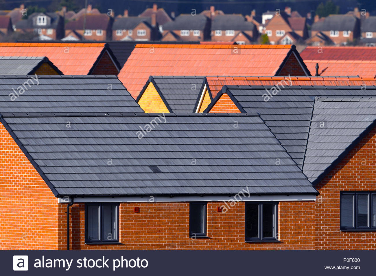 File photo dated 01/02/18 of newly constructed houses on a housing development. More than one million families are stuck on waiting lists for social housing in England - a quarter of whom are made to wait for more than five years, a study has found. - Stock Image