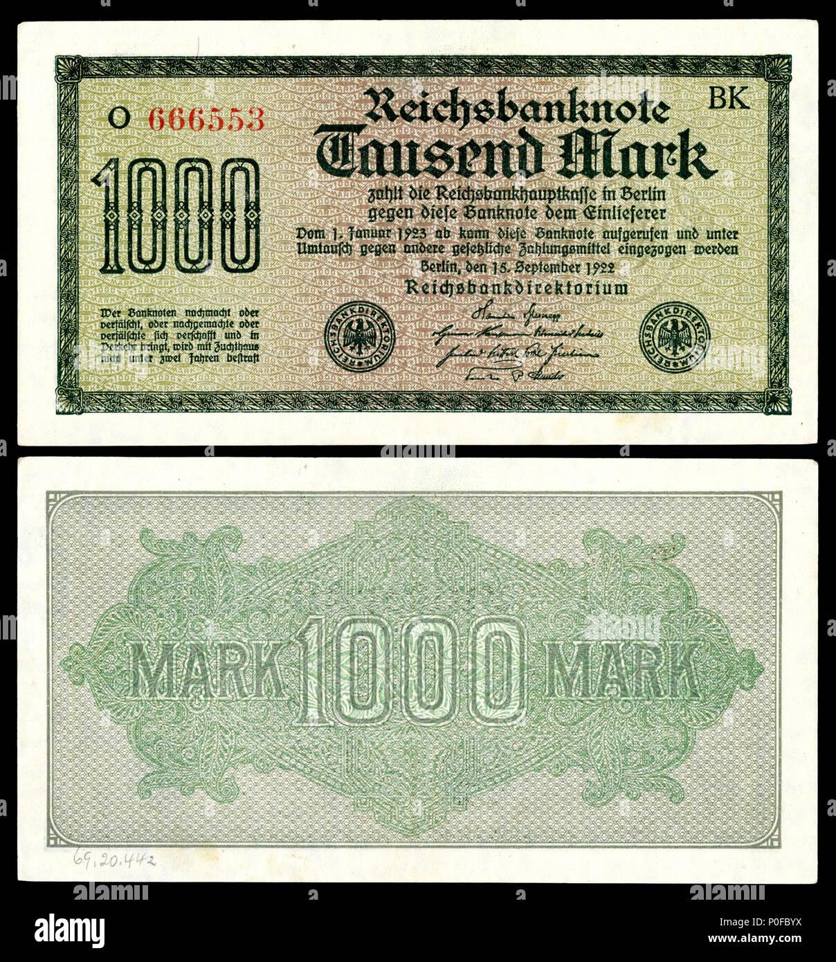 German Reich Weimar Republic Banknote 1000 Mark