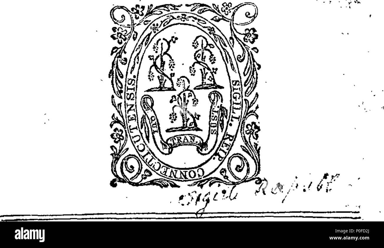 . English: Fleuron from book: Acts and laws of the state of Connecticut, in America. 259 Acts and laws of the state of Connecticut, in America. Fleuron W006810-2 Stock Photo