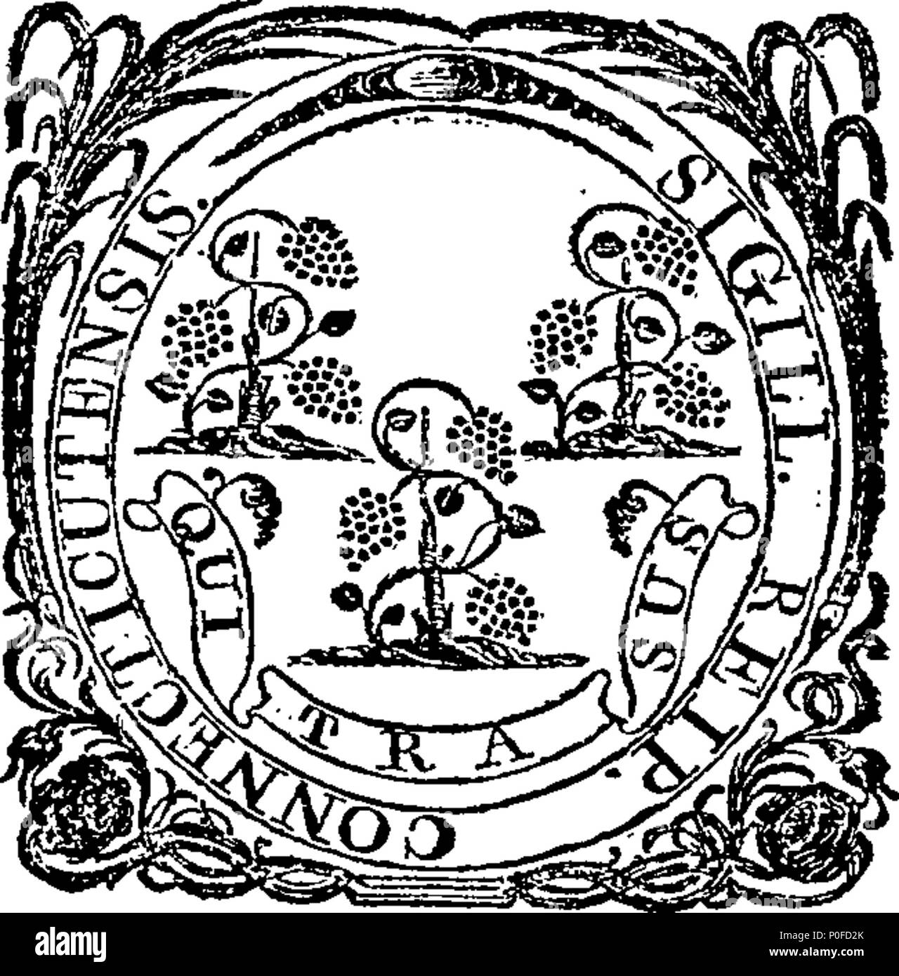 . English: Fleuron from book: Acts and laws of the state of Connecticut, in America. 259 Acts and laws of the state of Connecticut, in America. Fleuron W033320-1 Stock Photo