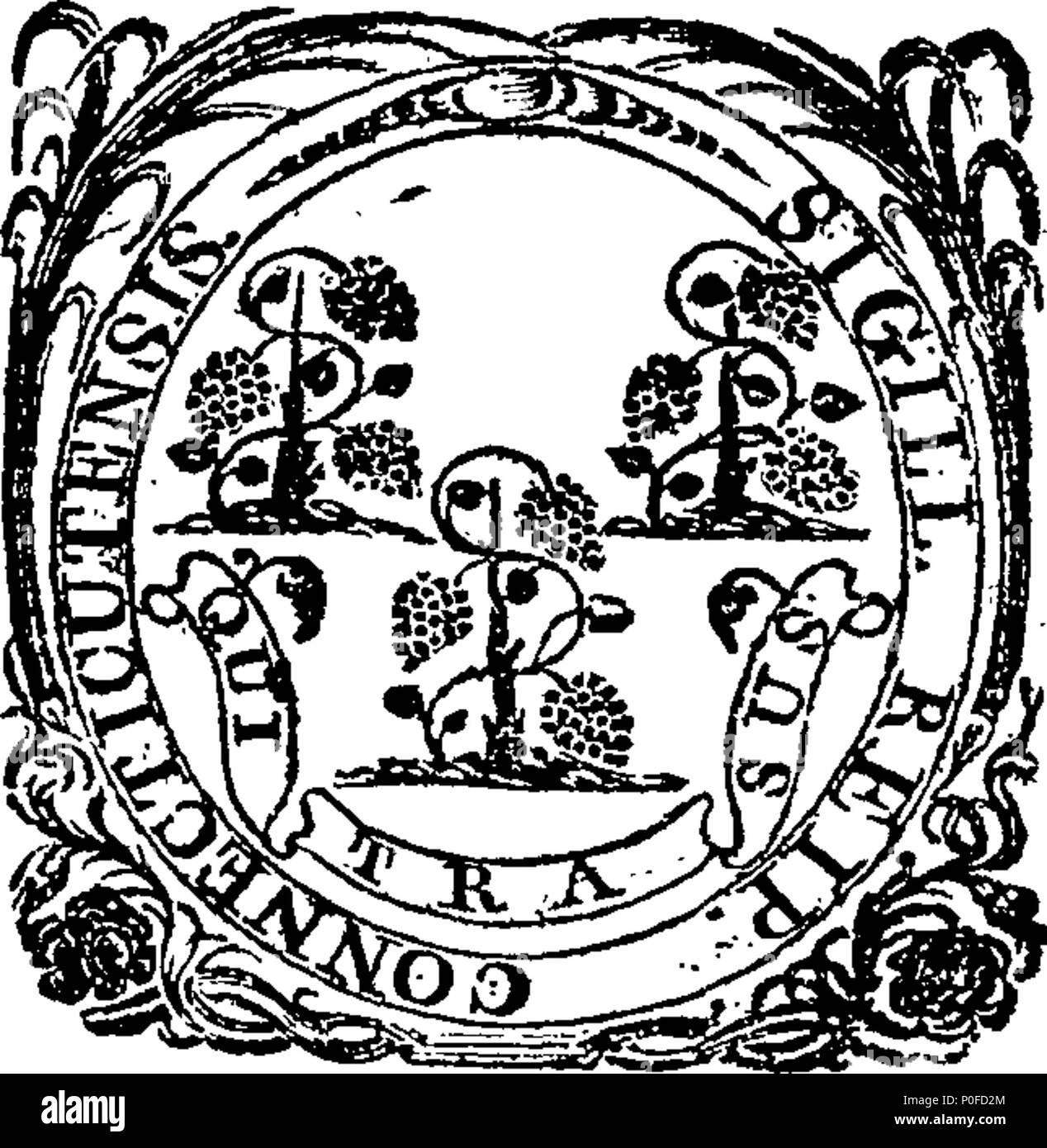 . English: Fleuron from book: Acts and laws of the state of Connecticut, in America. 259 Acts and laws of the state of Connecticut, in America. Fleuron W033320-4 Stock Photo