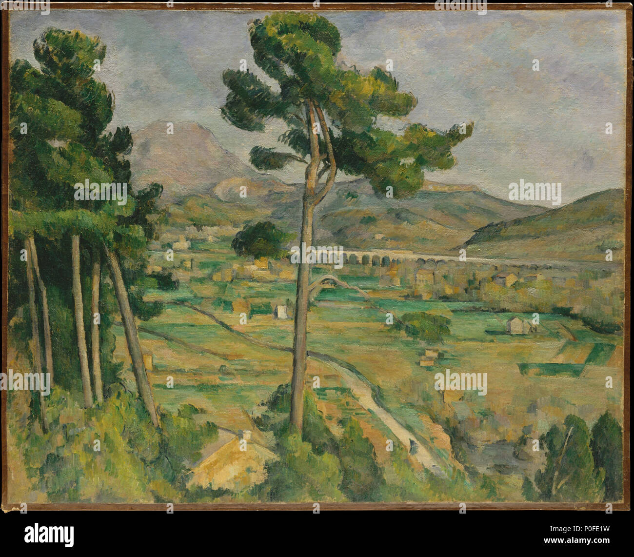 17 Paul Cézanne - Mont Sainte-Victoire and the Viaduct of the Arc River Valley (Metropolitan Museum of Art) Stock Photo