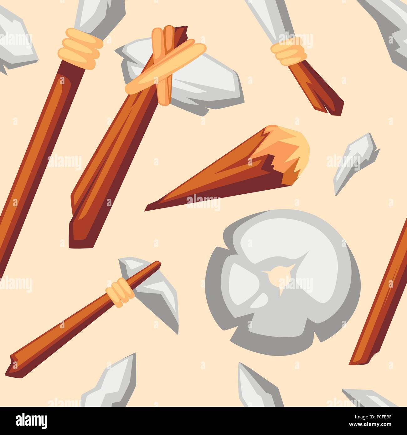 Seamless pattern. Stone tools collection. Stone age primitive work tools axe, hammer, club, spear and knife. Stone wheel. Flat style vector illustrati - Stock Image