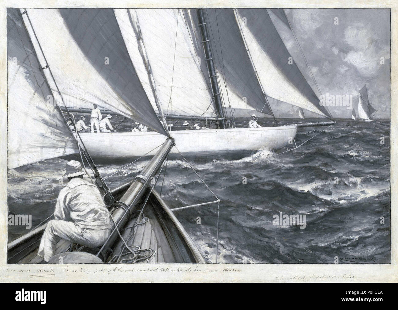 .  English: A yacht luffing Two yachts are shown during a race. The yacht in the centre has a large crew and is shown in the act of luffing. This ensures the vessel sails as close to the wind as possible and does not sag down to leeward. The monochrome palette of the painting, combined with close attention to detail, and the foreshortened and cropped angle of the yacht on the foreground on the left, creates the effect of a photograph. The painting is one of a pair with 'A Yacht Ashore', BHC1280 and is signed 'C.M. PADDAY'. A yacht luffing  . Late 19th century - Mid 20th century. Charles M Padd - Stock Image