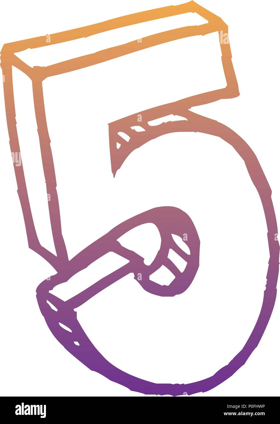 number five icon over white background, vector illustration - Stock Image