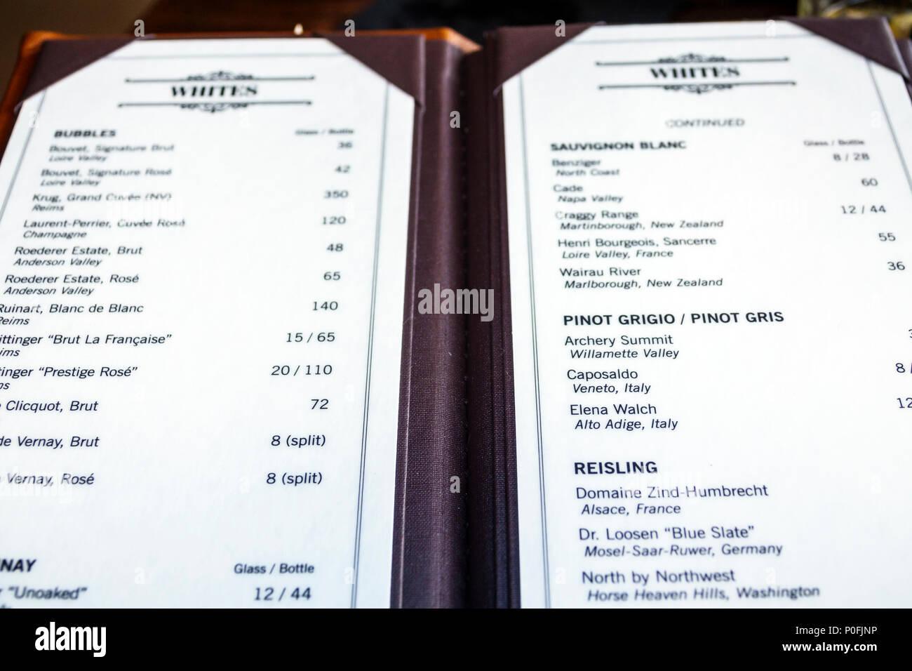 Florida Pompano Beach The Foundry restaurant white wine menu pinot grigio Riesling interior - Stock Image