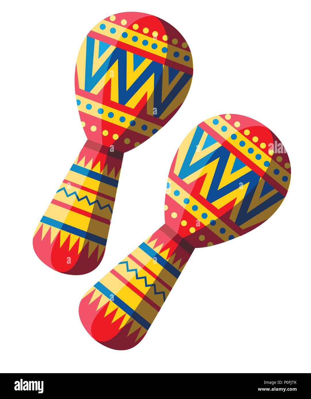 vector illustration of colorful maracas pair maracas flat icon
