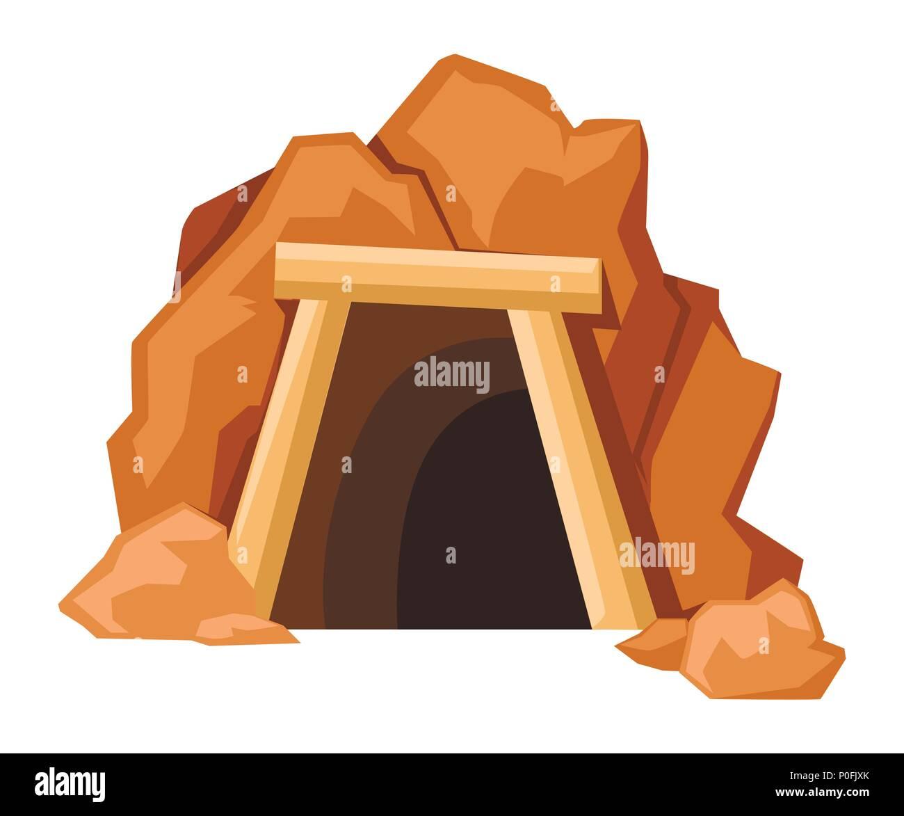 Cartoon mine entrance. Retro tunnel. Old mine in desert. Flat vector illustration isolated on white background. - Stock Vector