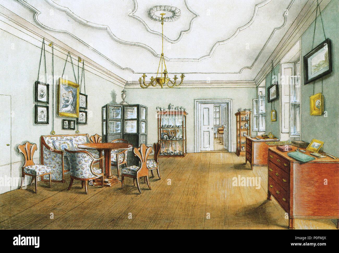 German: Wohnzimmer der Tänzerin Fanny Elßler English: Living room of ...