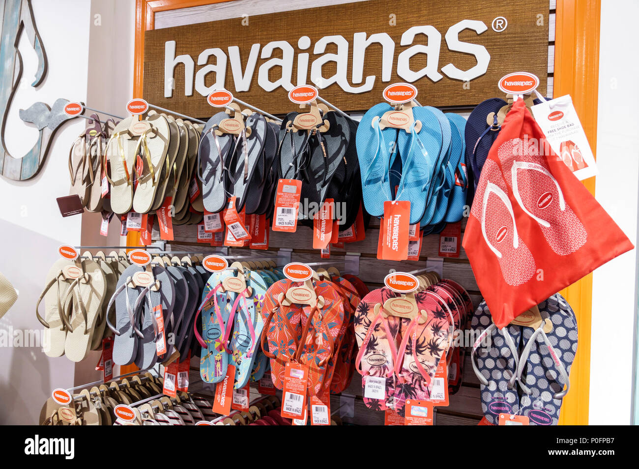 d5981be15 Florida Saint St. Augustine St. George Street shopping gift shop store  display Havaianas thong sandals