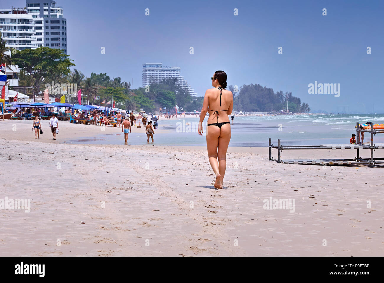 Asian thong girl beach